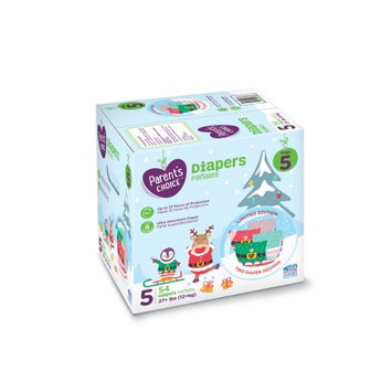 Parent's Choice Baby Diapers Size 5 Limited Edition Festive Box, 54 count