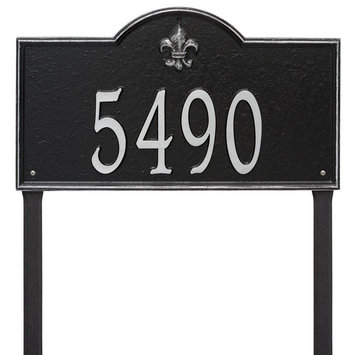 Whitehall Bayou Vista 1-line Personalized Address Plaque with Stand Black/Silver