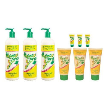 Triple Lanolin Mango Vera Combo Hand & Body Lotion *contains 3-20oz Bottle, 3-2.25oz & 3-.75oz Tubes