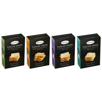 Dolcetto Tuscan Crisps - Assorted 4 Pack - One 5.3oz box of each flavor: Olive Oil & Sea Salt, Italian Cheese Blend, Chia Seeds & Sea Salt, Rosemary & Olive Oil