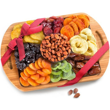 Dried Fruit and Nuts In Keepsake Bamboo Cutting Board Serving Tray with Handles [With Roasted Almonds]