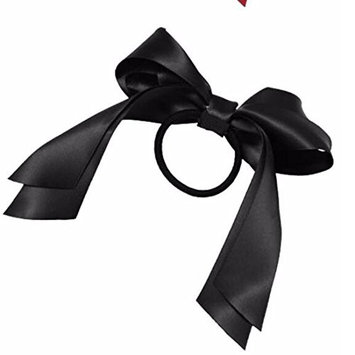 1Pc Women Tiara Satin Ribbon Bow Scrunchie Ponytail Holder 5Color Black