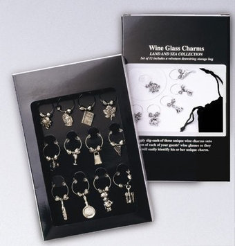 Franmara 12 Wine Glass Charms the Gourmet Collection with Velveteen Storage Bag