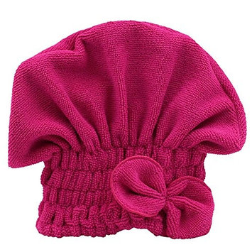 Potato001 Women's Hair Drying Hat Spa Towel Turban Cap Cute Bowknot Soft Coral Velvet Micro-fiber