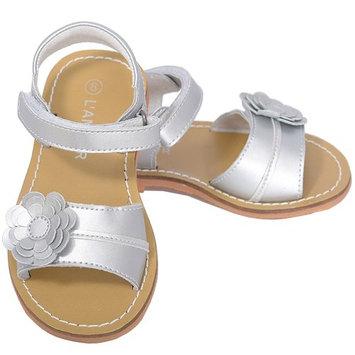 L'Amour Silver Flower Spring Summer Sandal Shoe Toddler Girl 5-10