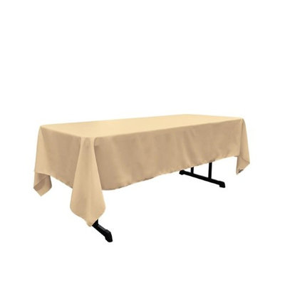 LA Linen TCpop60x144-KhakiP33 Polyester Poplin Rectangular Tablecloth Khaki - 60 x 144 in.