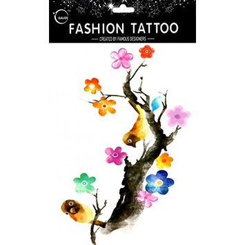 Grashine long last and look like real temporary tattoos Large design Oriole are resting on the plum tree temp tattoo stickers women for chest,belly,back,leg,etc.