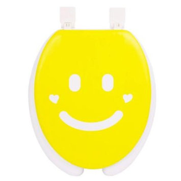 Happy Seat Smile Round Closed Front Toilet Seat in Yellow and White