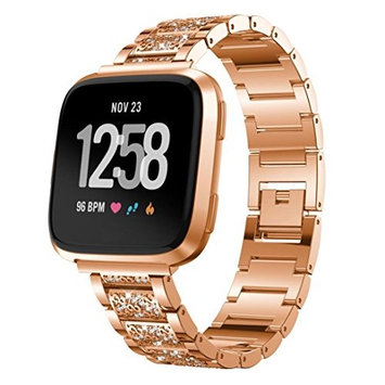 Bands for Fitbit Versa,AutumnFall 1PC Luxury Replacement Stainless Steel Crystal Diamond Strap Wrist Band For Fitbit Versa (Rose G