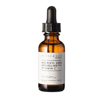 MATRIXYL 3000 + ARGIRELINE Peptide + Vitamin C 1 oz Serum with Organic Hyaluronic Acid - Reduce Sun Spots, Wrinkles, Our Most Powerful Triple Combination - ASTERWOOD NATURALS - Bottle