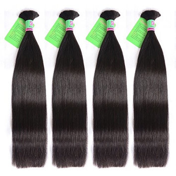 Eecamail Hair 100% Unprocessed Brazilian virgin Straight Hair Human Hair for Braiding Bulk No Attachment 4 bundles Natural Color Mix Length 22 22 22 22inch