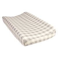 Test Trend Lab Gray and Cream Buffalo Check Deluxe Flannel Changing Pad Cover, Grey