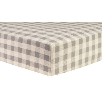 Test Trend Lab Gray and Cream Buffalo Check Deluxe Flannel Fitted Crib Sheet