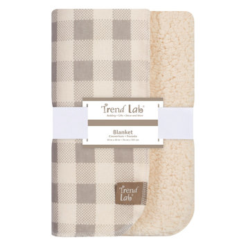 Test Trend Lab Gray and Cream Buffalo Check Faux Shearling Blanket