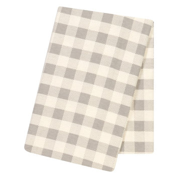 Test Trend Lab Gray and Cream Buffalo Check Jumbo Deluxe Flannel Swaddle Blanket