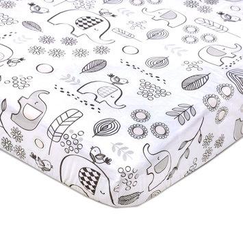 Lolli Living Kayden Elle Elephant Fitted Crib Sheet, White One Size