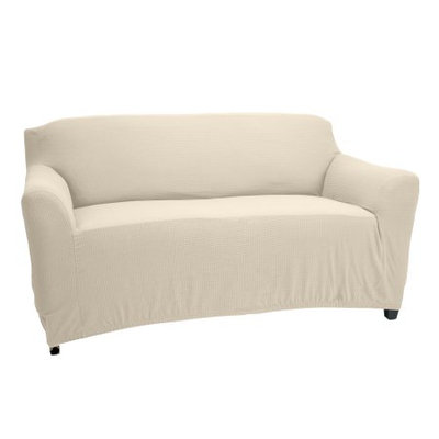 Home Details STRETCH LOVE SEAT SLIP COVER- IVORY- 96.5X47.2'- PIXEL