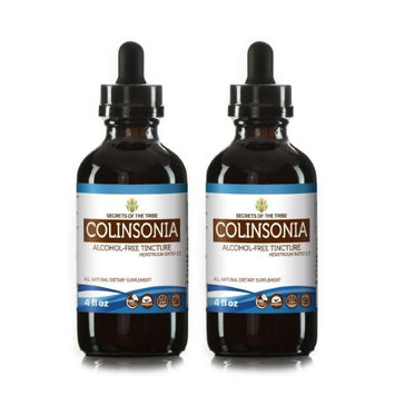 Secrets Of The Tribe Colinsonia Tincture Alcohol-FREE Extract, Wildcrafted Stoneroot (Collinsonia canadensis) Dried Root 2x4 oz
