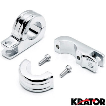 Krator® Chrome 1-1/4' Engine Guard Tube Bar Footpeg Clamps For Harley Davidson CVO Softail Deluxe FLSTNSE 2014