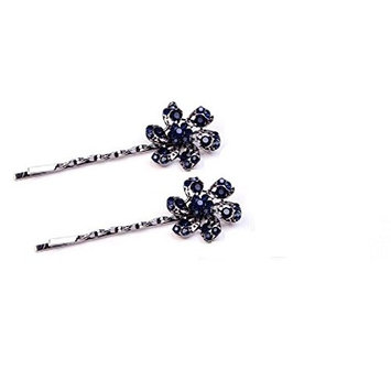 2 Pairs Rhinestone Hair Clip Clamps Bobby Pins(Flower style)