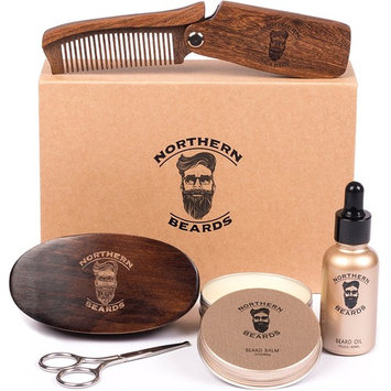 Beard Kit | Beard Oil and Beard Balm | Beard Grooming & Trimming Kit Beard Brush Beard Comb and Scissors included by Northern Beards