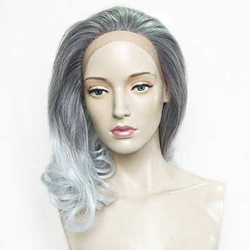 Namecute Ombre Gray Synthetic Hair Lace Front Wig 2 Tones Deep Brown Root to Gray Shoulder Length Wavy Wigs for Women + Free Wig Cap