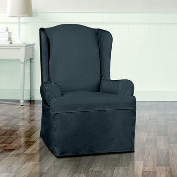 Sure Fit, Inc. Sure Fit Essential Twill Ruffled Wing Chair Slipcover with Scotchgard Protection