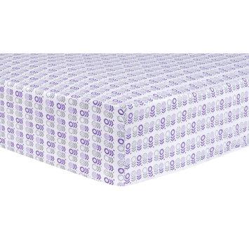 Test Trend Lab Scandi Flowers Fitted Crib Sheet, Purple