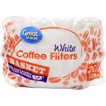 Wal-mart Stores, Inc. Great Value Basket Coffee Filters, White, 1-4 Cup, 200 Count