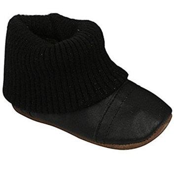 Enfant unisex Slipper Boots, luxurious soft leather + knitted cuff, 810170 [Black, 25 (7.5 Child UK)]