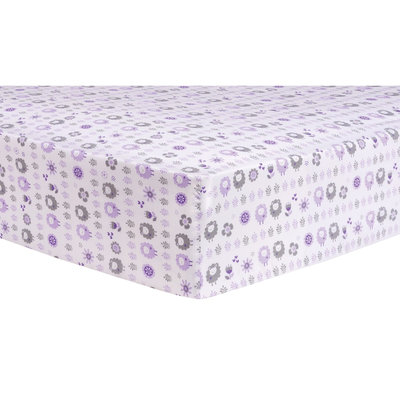 Test Trend Lab Lambs and Flowers Fitted Crib Sheet, Purple