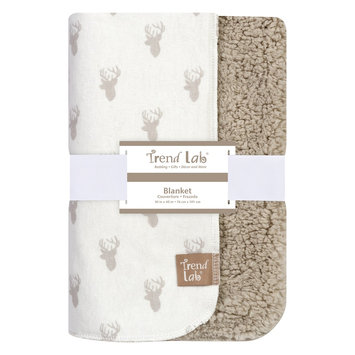 Test Trend Lab Gray Stag Head Faux Shearling Blanket