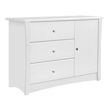 Storkcraft Crescent 3 Drawer Combo Dresser - White