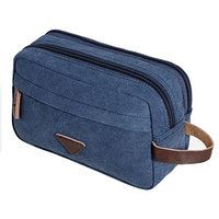Mens Travel Toiletry Bag Canvas Leather Cosmetic Makeup Organizer Shaving Dopp Kits with Double Compartments
