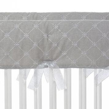 Convertible Crib Rail Protector - Short (Set of 2) (Grey Embroidery)
