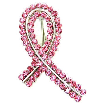 Faship Gorgeous Pink Crystal Liver Lung Breast Cancer Ribbon Pin Brooch