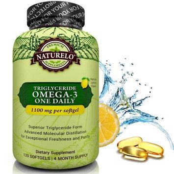 Naturelo Premium Fish Oil Supplement - 1100mg Triglyceride Omega-3 Per Capsule - No Burps - 120 Softgels 4 Month Supply