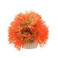 Fish Tank Decorative Orange Red Green Plastic Grass Ball Cermaic Base Plant