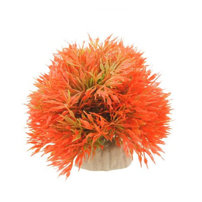 Fish Tank Decorative Orange Red Green Plastic Grass Ball Cermaic Base Plant