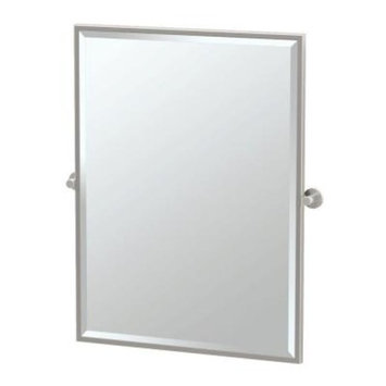 Gatco Channel 28 in. x 33 in. Framed Single Large Rectangle Mirror in Satin Nickel