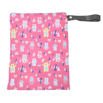 Itzy Ritzy Travel Happens Sealed Wet Bag with Adjustable Handle, Forest Friends, Pink