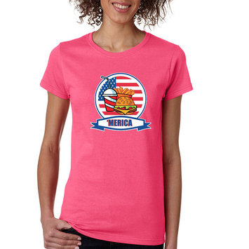 Allntrends Women's T Shirt Fast Food 'merica Love USA 4th Of July (L, Safety Pink)