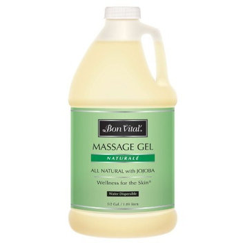 Bon Vital' Naturale Massage Gel Made with Natural Ingredients for Earth-Friendly & Relaxing Massage, Hypoallergenic Massage Gel for Sensitive Skin, Moisturizer Absorbs Like Lotion, 1/2 Gallon Bottle