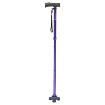 Drive Medical HurryCane Freedom Edition Folding Cane with T Handle, Purple