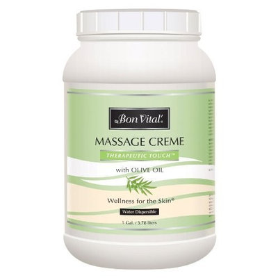 Bon Vital' Therapeutic Touch Massage Crème, Professional Massage Therapy Cream with Olive Oil to Repair Dry Skin & Soothe Sore Muscles, Full Body Moisturizer For Youthful Looking Skin, 1 Gallon
