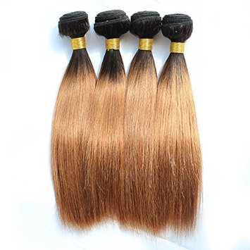 KISS HAIR Ombre Bundles Silky Straight Hair Weave 200g 10 inch Two Tone Colored Brazilian Virgin Human Hair Extensions for Short Bob Style (T1B/30) …