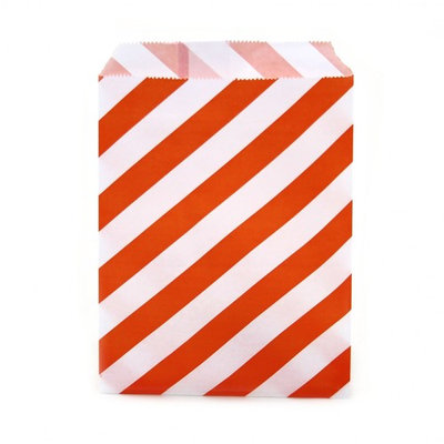 Dress My Cupcake 24-Pack Party Favor Bags, Striped, Orange