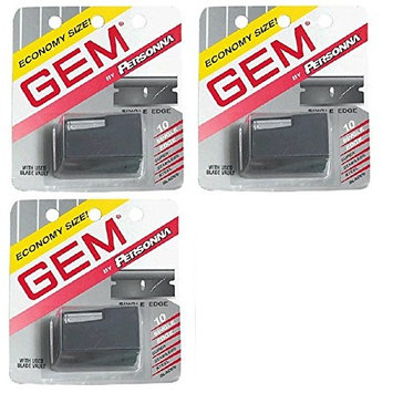 Personna Gem Super Stainless Steel Refill Blades, 10 ct. (Pack of 3) + FREE Travel Toothbrush, Color May Vary