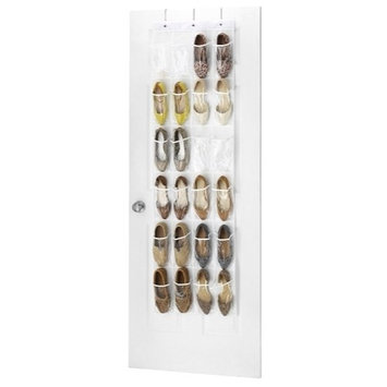 "Clear Over the Door Shoe Organizer - 24 Stitch-Secured Pockets, Hanging Closet Organizer for Shoes, Socks, Ties, Toiletries and Other Accessories 64"" L x 18"" W"