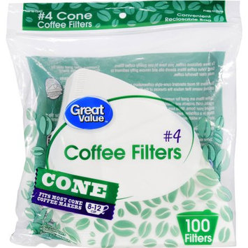 Wal-mart Stores, Inc. Great Value #4 Cone Coffee Filters, 8-12 Cup, 100 Count